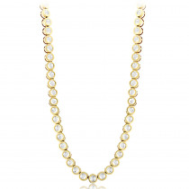 14K Gold Bezel Set Round Diamond Chain Necklace 4.75ct