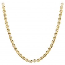 Hip Hop 14K Gold Cable Chain Eternity Diamond Necklace for Men 40.25ct