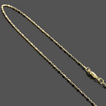14K Gold Chains: Bead Bar Chain Necklace 1mm 20