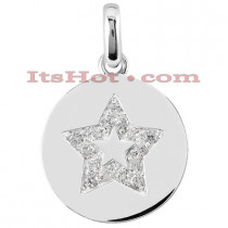 14K Gold Circle Star Diamond Pendant 0.15ct
