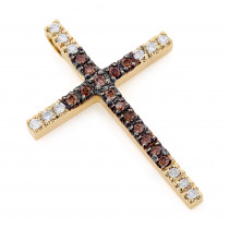 14K Gold White and Brown Diamond Cross Pendant 0.86ct