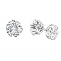 14K Gold Cluster Flower Diamond Stud Earrings for Women 0.75ct by Luxurman