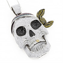 14K White Gold Pink Yellow Black Diamond Pirate Skull Pendant for Men 17ct