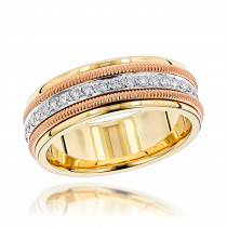 14K Gold Comfort Fit Diamond Wedding Band by Luxurman 0.9ct