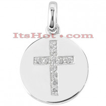 14K Gold Cross in a Circle Diamond Pendant 0.33ct