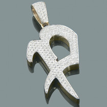 14K Gold Alphabet Custom Made Initial Diamond Letter Pendant 4.95ct