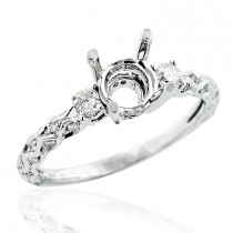 14K Gold Delicate Diamond  Engagement Ring Mounting 0.44ct