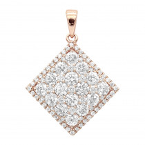 14K Gold Designer 2 Carat Diamond Square Pendant for Women by Luxurman