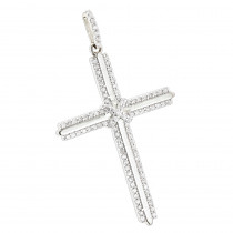 14K Gold Designer Diamond Cross Pendant 0.42ct