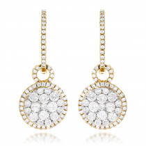 14K Gold Designer Diamond Earrings 2.04ct Clusters
