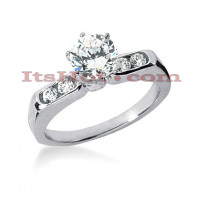 14K Gold Designer Prong and Channel Set Diamond Engagement Ring 0.66ct