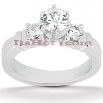 14K Gold Designer Three Stone Diamond Engagement Ring 0.68ct