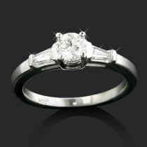 14K Gold 3-Stone Designer Baguette and Round Diamond Engagement Ring 0.70ct