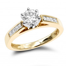 14K Gold Designer Round and Princess Cut Diamond Engagement Ring 0.74ct