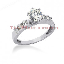 14K Gold Designer Prong and Bar Set Diamond Engagement Ring 0.74ct