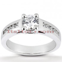 14K Gold Designer Prong and Channel Set Diamond Engagement Ring 0.75ct