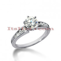 14K Gold Designer Prong and Channel Diamond Engagement Ring 0.76ct