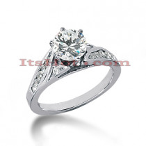 14K Gold Designer Prong and Channel Set Diamond Engagement Ring 0.77ct