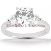 14K Gold 3 Stone Diamond Engagement Ring 0.80ct