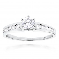 14K Gold Prong and Channel Set Diamond Engagement Ring 0.84ct
