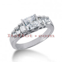 14K Gold Designer Princess Cut Diamond Engagement Ring 0.90ct