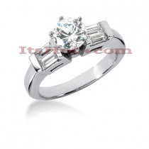 14K Gold Diamond Prong and Bar Set Engagement Ring 0.90ct