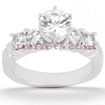 14K Gold 5 Stone Round Diamond Engagement Ring 0.90ct