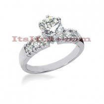14K Gold Designer Prong Set Diamond Engagement Ring 0.92ct
