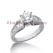 14K Gold Round and Baguette Diamond Engagement Ring 1.06ct