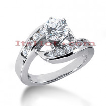 14K Gold Designer Prong and Channel Set Diamond Engagement Ring 1.06ct