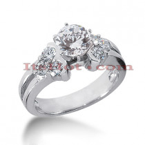 14K Gold Designer 7 Stone Round Diamond Engagement Ring 1.10ct
