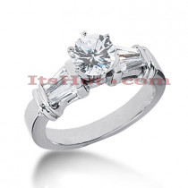 14K Gold Baguette and Round Diamond Engagement Ring 1.14ct
