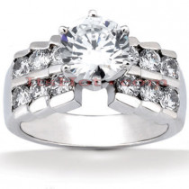 14K Gold Designer Prong and Channel Set Diamond Engagement Ring 1.46ct