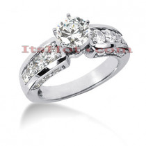 14K Gold Designer Diamond Engagement Ring 1.66ct