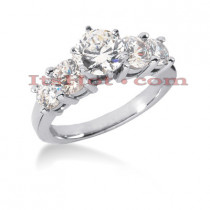 14K Gold 5 Stone Diamond Engagement Ring 1.70ct