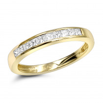 Thin 14K Gold Princess Cut Diamond Engagement Ring Ladies Band 0.33ct