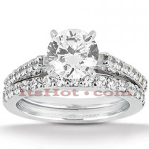14K Gold Designer Diamond Engagement Ring Set 0.37ct