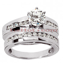 14K Gold Designer Diamond Engagement Ring Set 0.46ct