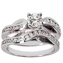 14K Gold Designer Diamond Engagement Ring Set 0.48ct