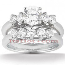 14K Gold Designer Diamond Engagement Ring Set 0.50ct