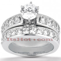 14K Gold Designer Diamond Engagement Ring Set 0.79ct