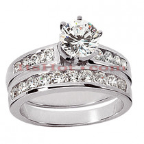 14K Gold Handmade Round Diamond Engagement Ring Set 0.90ct