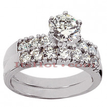 14K Gold Designer Round Diamond Engagement Ring Set 0.91ct