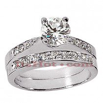 14K Gold Designer Diamond Engagement Ring Set 0.94ct