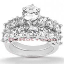 14K Gold Designer Prong Set Diamond Engagement Ring Set 0.95ct