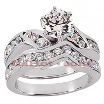 14K Gold Designer Channel and Prong Set Diamond Engagement Ring Set 0.98ct