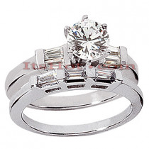 14K Gold Designer Diamond Engagement Ring Set 0.99ct