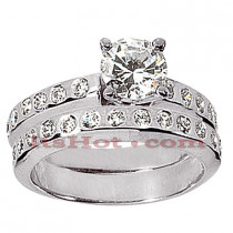 14K Gold Designer Round Diamond Engagement Ring Set 1.06ct