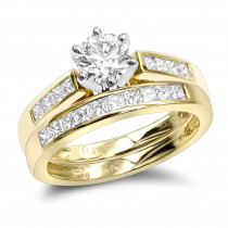 14K Gold Designer Round and Princess Cut Diamond Engagement Ring Set 1.07ct