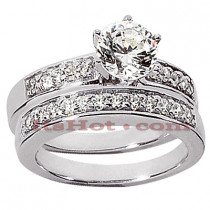 14K Gold Handmade Diamond Engagement Ring Set 1.16ct